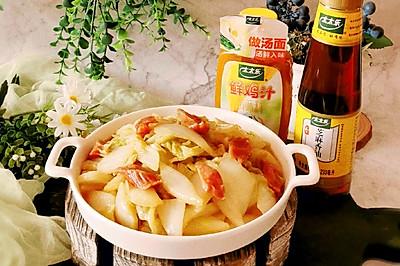 鲜香适口的腊肉肠炒白菜