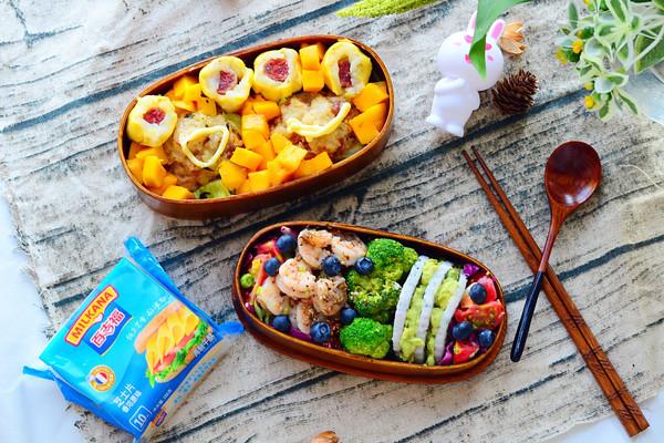 牛油果虾仁沙拉配鲜肉饭团#百吉福食尚达人#的做法