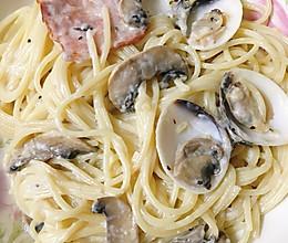 白汁蘑菇培根白贝意面的做法