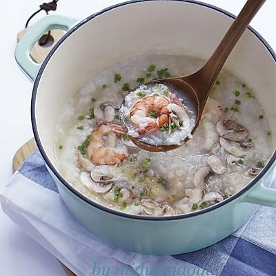 鲜虾口蘑粥