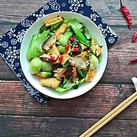 香菇油菜炒豆腐#花10分钟,做一道菜!#的做法图解10