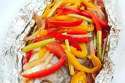 彩椒焗烤海鲈鱼