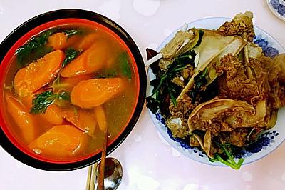 清炖羊肉,菜肉两吃
