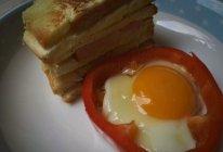 彩椒圈太阳蛋的做法