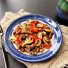 #春天肉菜这样吃#黑椒牛排炒蘑菇