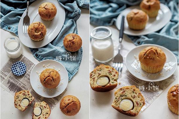 【葱香培根蛋麦芬】低糖低油咸味蛋糕的做法