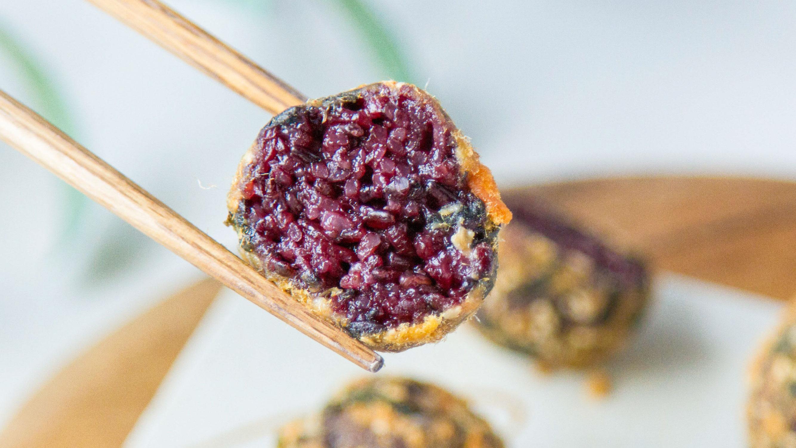 紫米肉松饭团