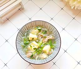 #好吃不上火#冬天必备的暖身补品:5分钟就能搞定的豆腐羊肉汤的做法