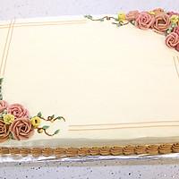 大号方形庆典蛋糕淡奶油抹面裱花的做法图解9