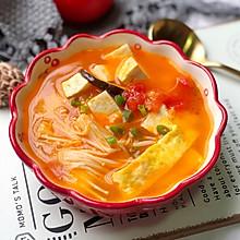 番茄菌菇豆腐汤,减脂瘦身#做道好菜,自我宠爱!#
