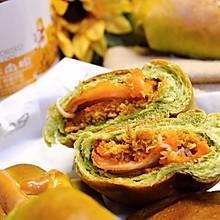 #夏日开胃餐#抹茶鸡排肉松面包