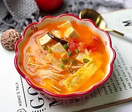 番茄菌菇豆腐汤,减脂瘦身#做道好菜,自我宠爱!#的做法