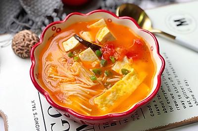 番茄菌菇豆腐汤,减脂瘦身