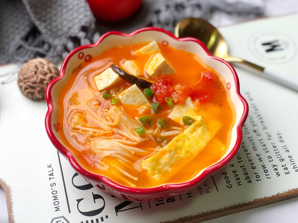 番茄菌菇豆腐汤,减脂瘦身的做法
