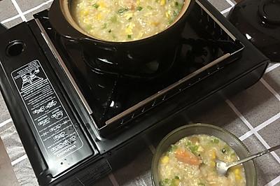 虾仁玉米滑蛋砂锅粥