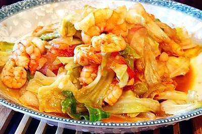 杂炒白菜虾仁