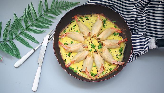 抱蛋鲜虾煎饺