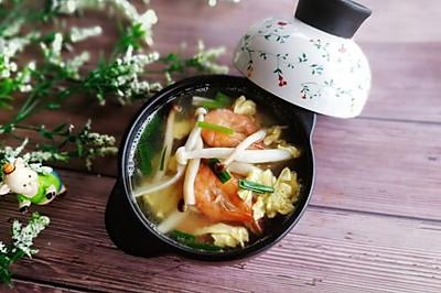 #精品菜谱挑战赛#菌类料理+鸭蛋双菇鲜虾汤