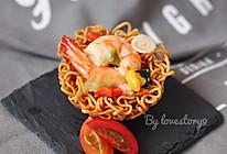鲜虾脆面盏#小虾创意料理#的做法