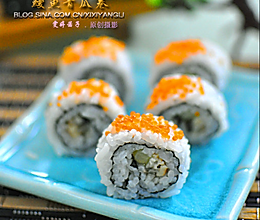 制造惊艳视觉的【红蟹籽鳗鱼寿司里卷】的做法
