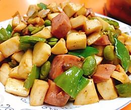 青椒茭白毛豆方腿丁的做法