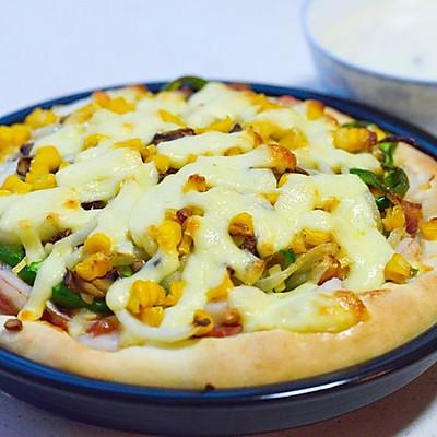 超简易的培根鲜虾披萨