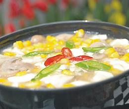 粟米磨菇烩豆腐的做法