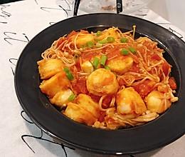 #餐桌上的春日限定# 番茄金针菇烧日本豆腐!超下饭!的做法