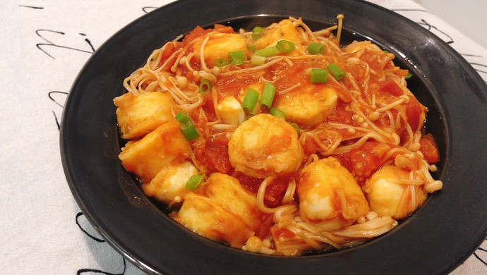 番茄金针菇烧日本豆腐!超下饭!