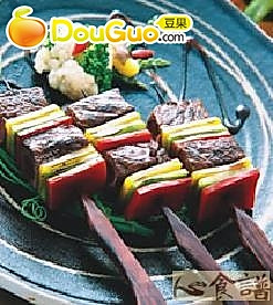 彩椒牛肉串的做法