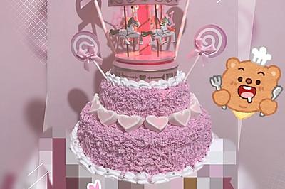 天空之城 旋转木马  8寸戚风蛋糕