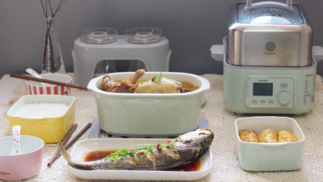 #一锅搞定才是正义#黄芪炖鸡汤+蒸肉卷+清蒸黄花鱼的做法