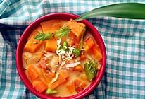 简单好吃的低卡减脂汤:南瓜胡萝卜虾仁浓汤的做法