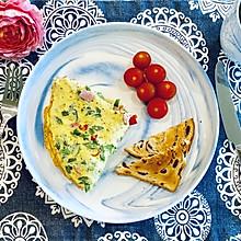 扁豆角煎蛋饼的早餐