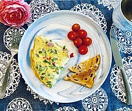 扁豆角煎蛋饼的早餐的做法