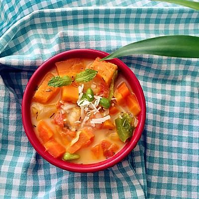 简单好吃的低卡减脂汤:南瓜胡萝卜虾仁浓汤