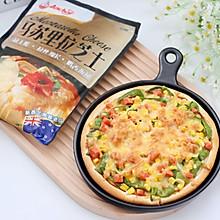 #安佳马苏里拉芝士挑战赛#青椒火腿披萨