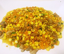 胡萝卜玉米粒炒肉沫的做法