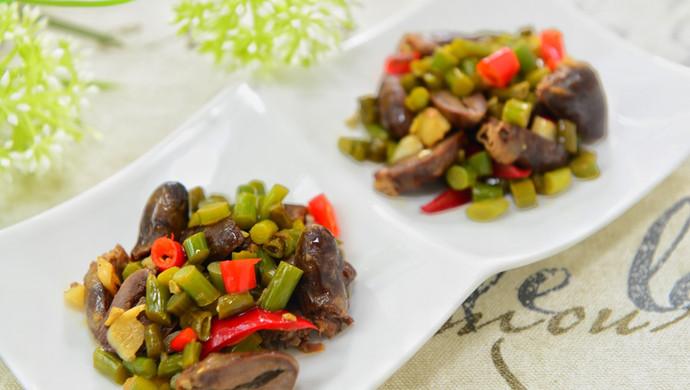 蒜苔酸豆角炒鸡杂-下饭菜/下酒菜