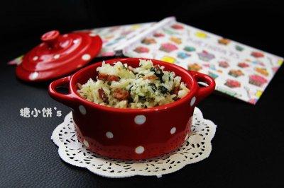 【菠菜腊肠菜饭】饭菜一锅端