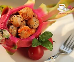 水果入菜---茄汁火龙果鸡丸 的做法