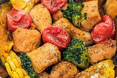低脂时蔬烤鸡胸肉,低卡饱腹好吃不胖