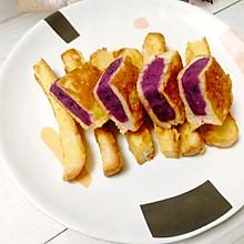 #换着花样吃早餐#紫薯面包片,美味又营养