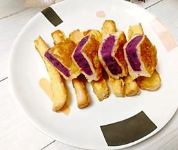 #换着花样吃早餐#紫薯面包片,美味又营养的做法