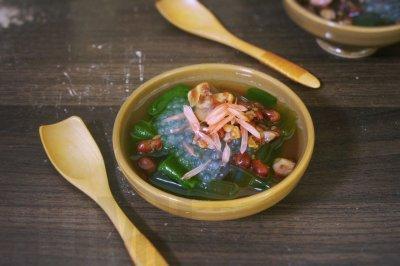 对抗秋老虎,抹茶凉粉红豆汤