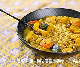 南瓜海鲜咖喱汤泡饭的做法