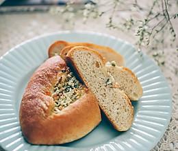 橄榄油葱蒜香火腿全麦软欧面包的做法