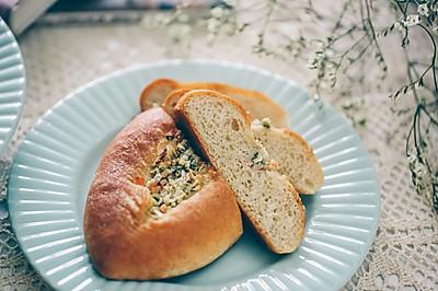 橄榄油葱蒜香火腿全麦软欧面包