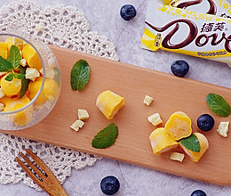 玩转德芙柠檬曲奇白巧克力——芒果酸奶白巧冰砖#冷藏更香脆#的做法