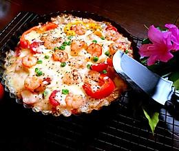 鲜虾披萨(36小时天然酵种Teff粉法棍 饼底)的做法